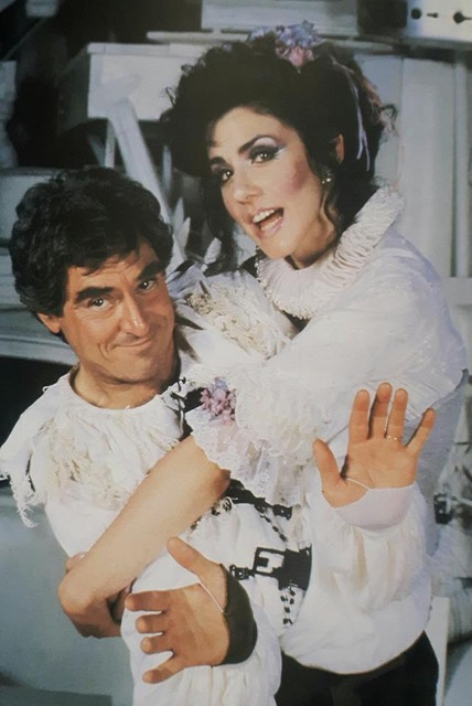 "Anthony Newley and me, way back when I was a brunette. ""Stop the World, I Want to Get Off"""